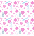 Seamless pattern with men and pink hearts vector image