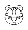 sketch silhouette of kawaii caricature face tiger vector image