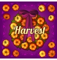 Wreath on the door of pumpkins vector image