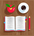 notebook apple and cup of coffee vector image