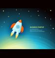 cartoon rocket ship in space vector image