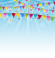Holiday background with birthday flags and vector image