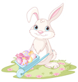 Easter Bunny with wheelbarrow vector image