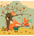 Cute foxes ride on a swing in the autumn forest vector image
