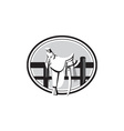 Old Style Western Saddle on Fence Oval Black and vector image