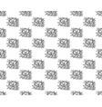 Black line rose seamless on white background vector image