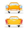 cartoon style of vintage old yellow car Back and vector image