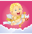 Cupid flying on a cloud vector image