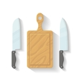 Flat kitchen cooking tools cutting Board vector image