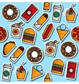 Hand drawn fast food colored pattern vector image