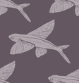 Seamless pattern Flying Fish in violet vector image