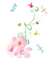 vector flower corner with butterflies vector image