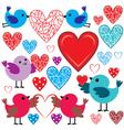 Set of birdies and hearts vector image vector image