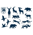 Savanna and forest animals for hunting icons vector image