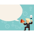 Businessman with megaphone speaking idea speech vector image