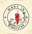 Stamp with map flag of Gibraltar vector image