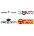 driving school logo set auto education the rules vector image
