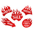 red flame tag labels vector image