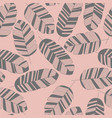 seamless pattern with gray leaves on pink vector image