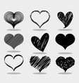 set different heart shape to love symbol vector image