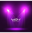 Spotlights empty scene Illuminated stage design vector image