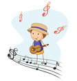 A kid playing with a guitar vector image vector image