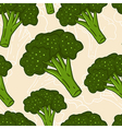 Cute seamless hand drawn broccoli background vector image