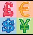 jewel currency symbols vector image vector image