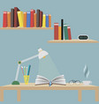 one open book on the table the light of the desk vector image