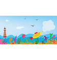 Sea banner with fish nature and lighthouse vector image