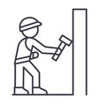 worker builder with hammer line icon sign vector image