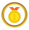 Gold medal for first place icon vector image