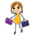 A girl with two bags vector image vector image