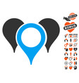 map pointers icon with lovely bonus vector image