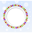 Round abstract background with Christmas lights vector image
