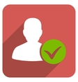 Patient Ok Flat Rounded Square Icon with Long vector image