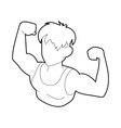 Bodybuilder athlete icon outline style vector image