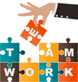 Businesswoman assembling puzzle with teamwork vector image