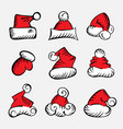 doodle christmas hat vector image