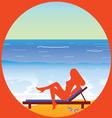 girl enjoy on the paradise beach vector image