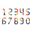 numbers retro color paper vector image