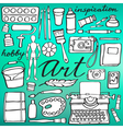 Art supplies set Hand-drawn cartoon collection vector image