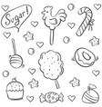 doodle of candy style collection stock vector image