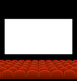 Cinema movie theatre with red seats and white vector image