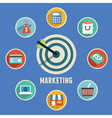 Target marketing with icons vector image