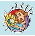 Comic girl woke up from the alarm vector image