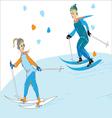 Couple Skiing vector image
