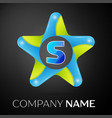 letter s logo symbol in the colorful star on black vector image