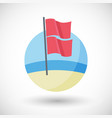 red over red beach flag flat icon vector image