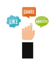 hand human index with social media icon vector image